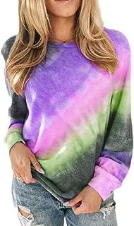 Women Rainbow Ombre Top Casual Sweatshirt Long Sleeve Tee T Shirt