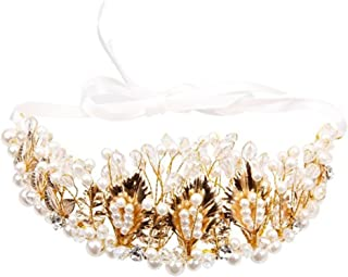 Frcolor Crystal Rhinestones Crown Tiara Pearl Golden Leaves Flor para la boda