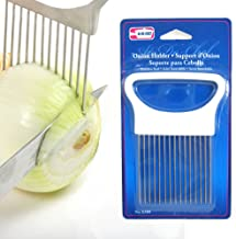 Symak k380 1 New Onion Holder Guide Stainless Steel Prongs Holds Slice Aid Cutting, White