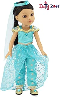 Emily Rose 14 Inch Doll Clothes | 4 Piece Jeweled Princess Jasmine Inspired Outfit, Including Shoes! | Perfect Halloween Costume! | Fits 14