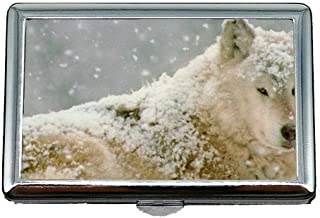 Flying Pig Men Cigarette Storage Case/Box,Wildlife Predator Winter Animal Forest Wolf Business Card Holder Business Card Case (Stainless Steel)