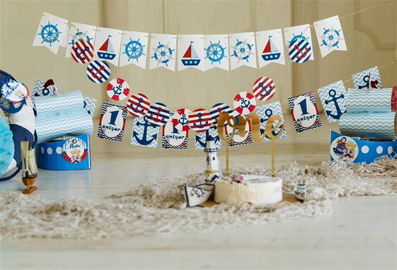 AOFOTO 5x3ft Polyester 1st Birthday Backdrop Pirate Buntings Ships Cake Carpet Boy Baby Little Prince Happy First Birthday Photography Background Room Interior Decoration Photo Backcloth Screen