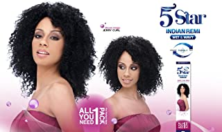 5 STAR Indian Remy Wet & Wavy Human Hair JERRY CURL 5 PCS - (#1 Black)