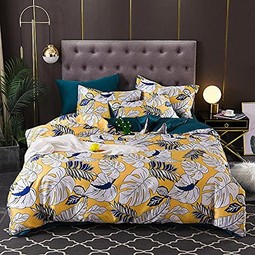 Juego De Funda De EdredóN De 3 Piezas,Funda de seda, ligera de lujo suave y transpirable individual de doble cama de soltero almohada de almohada, adecuada para habitación de habitación habitación pa