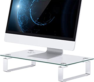 Glass Monitor Stand - Tempered Glass Computer Monitor Stand Riser with 15.1x 8.2 Platform & 3 Inch Height, Holds up to 44 lbs, Ergonomic Screen Holder by HUANUO