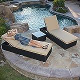 BELLEZE Rattan Wicker Aluminum 3 pc Chaise Lounge Chair w/Side Table Set (Black)