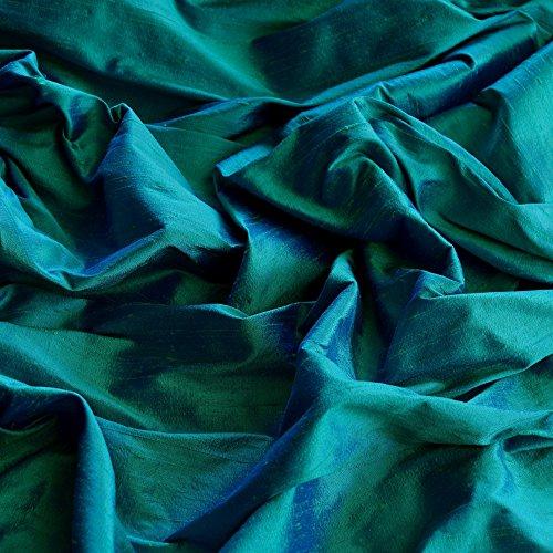 54' Wide - Iridescent Peacock Dupioni Silk, 100% Silk Fabric, by The Yard
