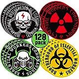2 Inch Essential Worker Hard Hat Stickers Hazard Decals Helmet Sticker 2 Inch Helmet Decals for Entire Work Team or Construction Crew (128 Pieces)