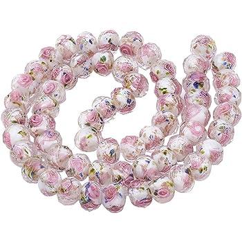 6 Rose /& White 12 x 8 mm Lampwork Flower Glass Beads  RW