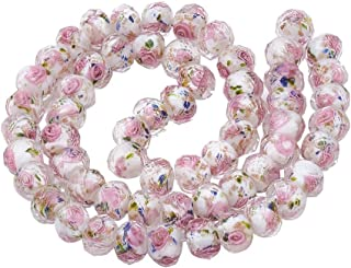 PH PandaHall 60pcs 10mm Gold Sand Lampwork Beads Glass Round Loose Beads for Jewelry Craft Making with 2mm Hole