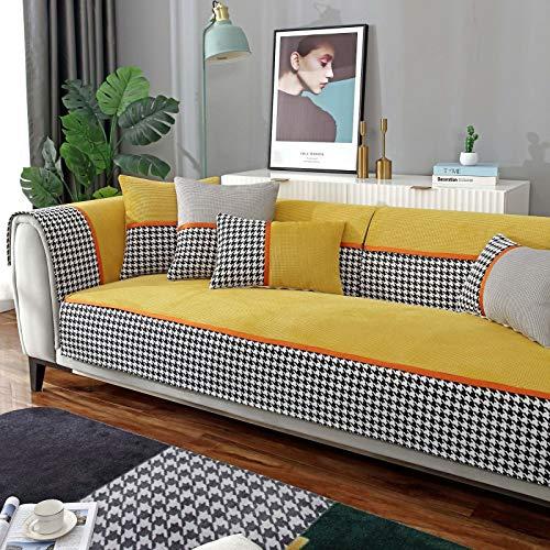 L Shaped Universal Cubiertas Seccionales Para El Couch,Jacquard Cubiertas Antideslizantes De Sofá Non Slip Cubiertas De Sofá,Salón Cubierta Del Sofá Terciopelo Cubierta Del Sofá-Amarillo 90x160cm(35x6