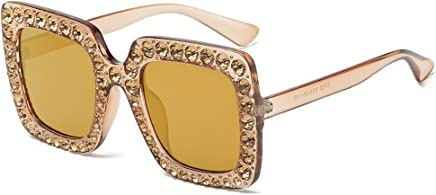 c5c8fa6fa85 JJLIKER Square Rhinestone Sunglasses Novelty Oversized Celebrity Shades  Women Sparkling Crystal Square Thick Frame