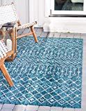 Unique Loom Outdoor Trellis Collection Tribal Geometric Transitional Indoor and Outdoor Flatweave Teal   Area Rug (7' 0 x 10' 0)