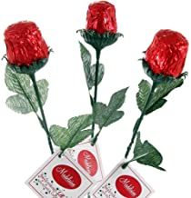 Madelaine Chocolate Sweetheart Edible Roses - Solid Premium 1/2 OZ Milk Chocolate Rose Wrapped in Italian Foil (Red, 3 Pack)