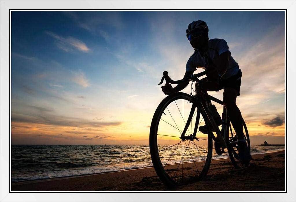Max 81% OFF Cyclist Silhouette Biking On Mail order The Photo Beach White Wood Sunrise