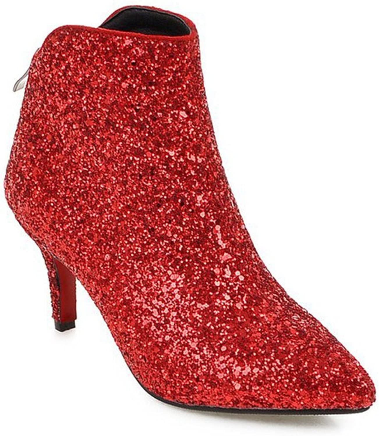 Lucksender Womens Pointed Toe Sparkling Party Dress Pumps shoes