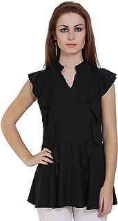 Trendique Women Polyester Crepe Western Black Top