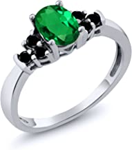 Gem Stone King 0.60 Ct Oval Green Nano Emerald Black Diamond 925 Sterling Silver Ring