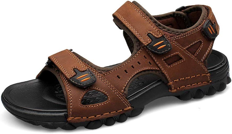 ZheRen Sandalen und und und Hausschuhe, Beiläufige Sandalen der Männer des echten Leders, heiße Sommer-Wasser-Strand-Schuhe mit Klettverschluss-Bügel 7a7bbb