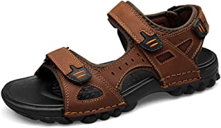 WATERMELON Men's Hook and Loop Fastening Strap Sandals Genuine Leather Summer Hot Water Beach Shoes (Color : Brown, Size :...