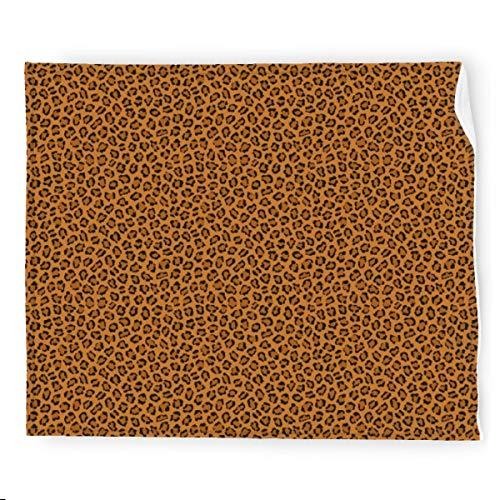 Manta de franela con estampado de animales de leopardo oscuro, suave, cálida y acogedora manta decorativa colorida para sofá, sofá de 127 x 152 cm