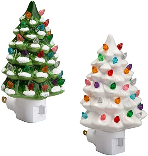 wholesale Fox Valley Traders Green and White Ceramic Tree Night outlet online sale Lights outlet online sale Set of 2 outlet online sale