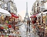 Fuumuui Fai-da-Te Fai-da-Te Pittura a Olio su Tela Regalo per Adulti Bambini dipingere da Numero Kit Decorazioni per la casa -Parigi Flower Street 16 * 20 Pollici