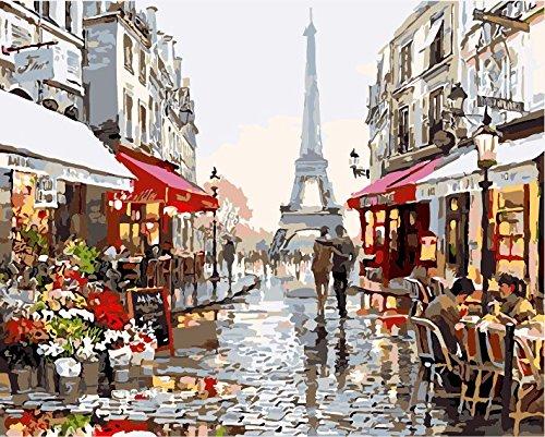 Fuumuui Lienzo de Bricolaje Regalo de Pintura al óleo para Adultos niños Pintura por número Kits Decoraciones para el hogar -Calle de Las Flores de Paris 16 * 20 Pulgadas