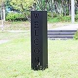 Colonne pour Plantes Design Décoration Jardin Noire Motif Welcome