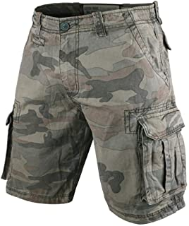 MUSCLE ALIVE Men's Vintage Cargo Shorts Relaxed Fit Camouflage 100% Heavy Cotton