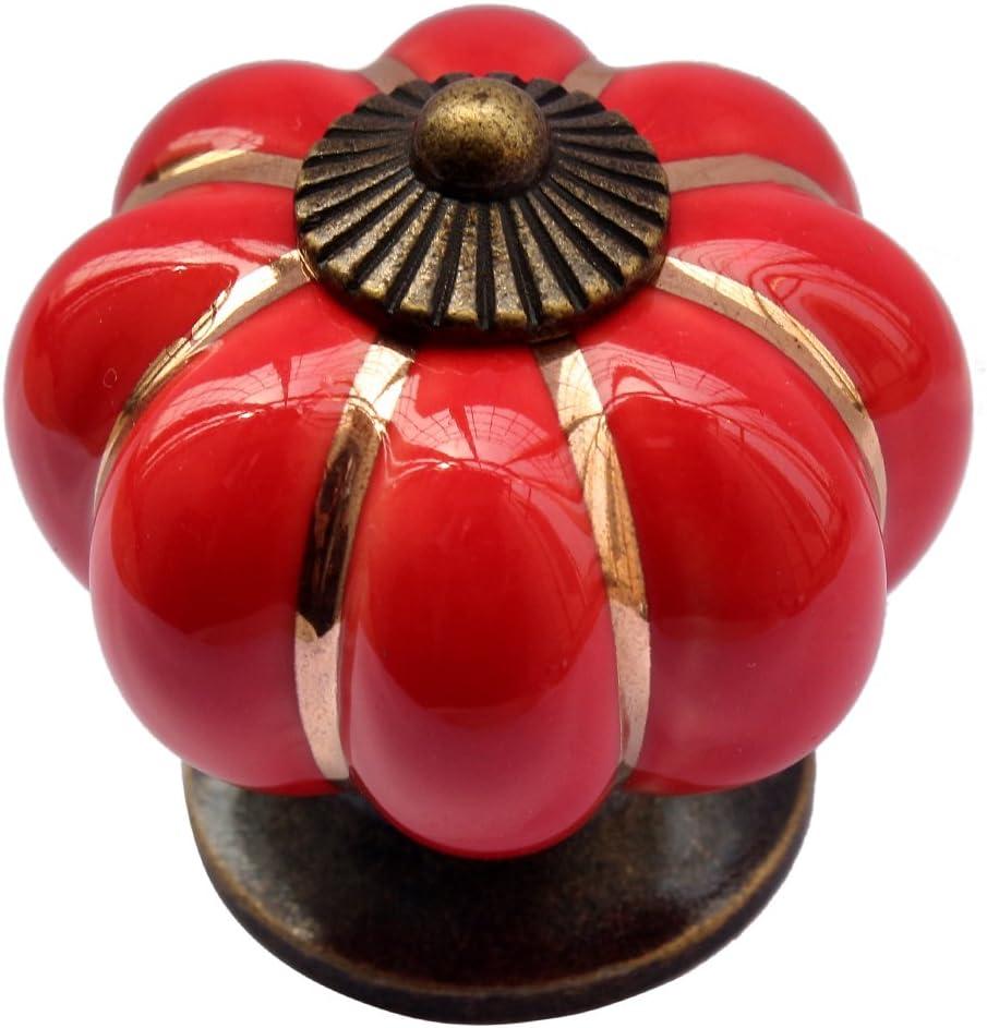 Tangpan 40mm Ceramic Pumpkin Shape Door Knob Store Handle Sale item Red Pa Color
