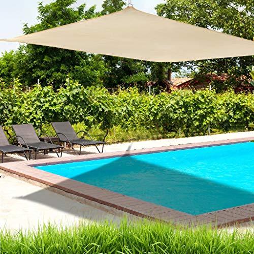 Rectangle Sand Sun Shade Sail Canopy UV Block Awning for Outdoor Patio Garden Backyard (Khaki)