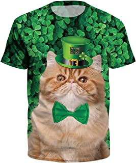 ad8248fb7 YKARITIANNA Unisex Men Women St.Patrick's Day Green Leaf Print Short Sleeve Tee  Shirt Top