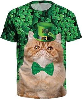ad8248fb7 YKARITIANNA Unisex Men Women St.Patrick's Day Green Leaf Print Short Sleeve Tee  Shirt Top
