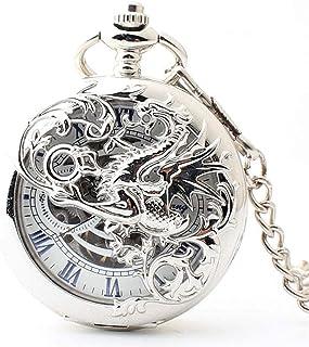 MQJ Montre de Poche Mécanique Vintage Hollow Out Fleur Fashion Hommes Femmes Quartz Pocket Watch Unisexe Collier Pendentif,A