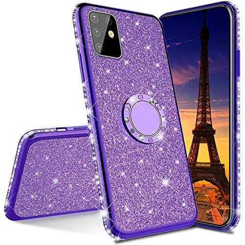 ISADENSER Compatible with Samsung Galaxy Note 20 Case Ultra-Slim Glitter Bling Diamond Silicon TPU Soft Cover with Ring Stand Holder for Samsung Galaxy Note 20, Purple TPU with Stand Holder