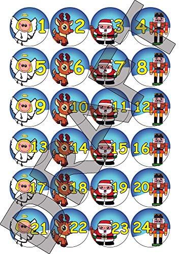 Party People 24, 48 o 72 Adesivi per Calendario dell'avvento di Natale - Disegni Cartoni Animati - Angelo, Babbo Natale, Schiaccianoci, Renne (72)