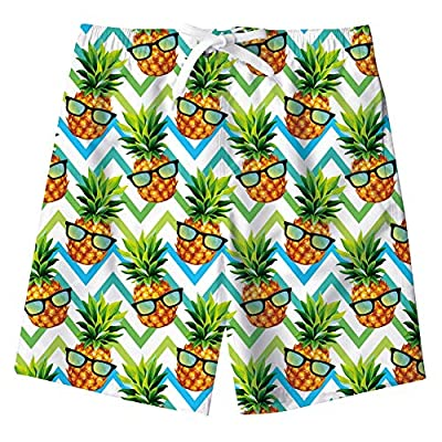 uideazone Big Boys 3D Swim Trunks Pineapple with Glasses Printed Quick Dry Swimwear Waterproof Beach Swimsuit for Casual Vacation