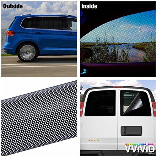 VViViD Black Perforated One-Way Vision Vinyl Automotive Window Wrap Roll (17.9' x 48')