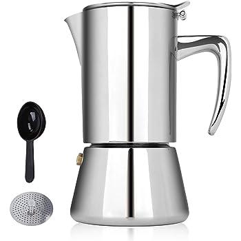 Honsdom Cafetera de inducción Italiana Cafetera Espressos en Acero Inoxidable 200ml(4 Tazas) Cafetera Moka Clásica ...