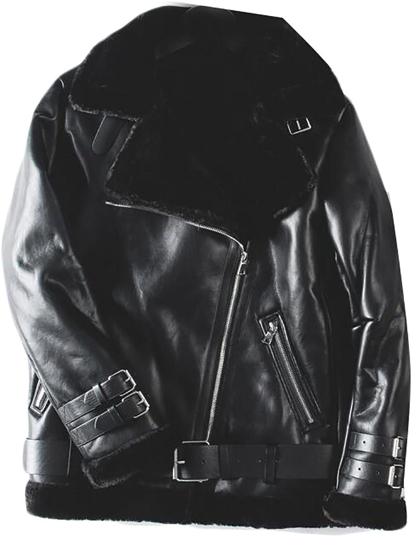 Pandapang Womens Casual Warm Faux Leather Bomber Pilot Parkas Jackets Coat