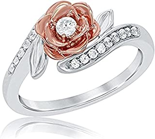 1/4ctw 14K Rose and White Gold Over Sterling Silver White CZ Diamond Fashion Ring