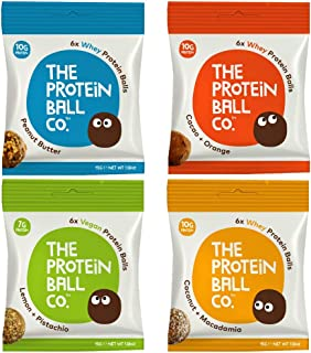 The Protein Ball Co. Variety Pack - Peanut Butter, Cocoa Orange, Lemon Pistachio & Coconut Macadamia | All Natural | Gluten Free | High Protein | Healthy Snack | Vegetarian | 12 Pack