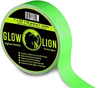 Premium Glow in The Dark Tape, 30 Feet by 1 Inch, Up to 12 Hour Glow, Photoluminescent..