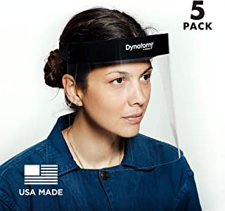 Dynatomy Face Shields 5-pack, Made in USA, Full Coverage PPE by D'Addario (DFSM-1-5)