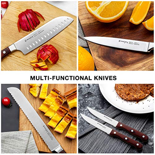 Emojoy Knife Set, 15-Piece Kitchen Knife Set with Block Wooden, Manual Sharpening for Chef Knife Set, German Stainless Steel