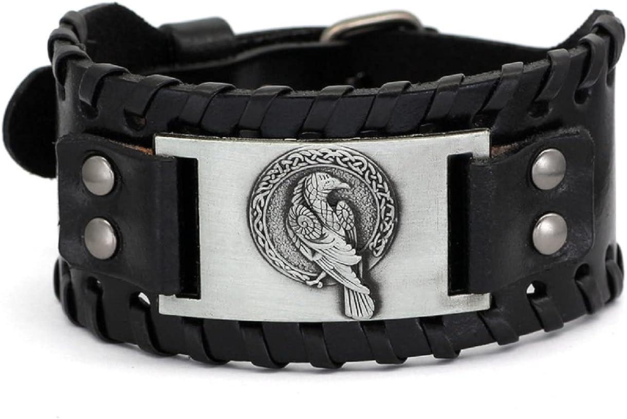 Nordic Viking Odin Raven Rune Bracelet for Men, Vintage Crow Animal Leather Wristband Bracelet Viking Raven Cuff Bracelet for Boys