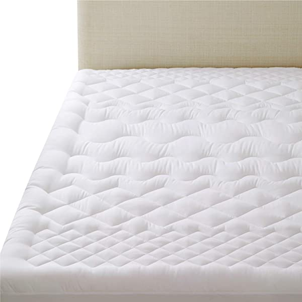 Bedsure Twin XL Twin Extra Long Mattress Pad Up To 18 Inches Deep Pocket Overfilled Mattress Pad With Fitted Skirt Quilted Mattress Cover Soft Breathable Washable White