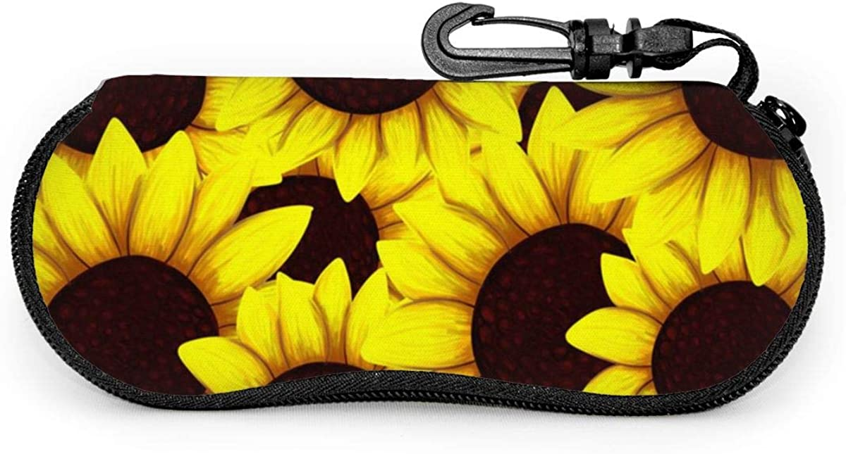 Sunflowers Stacked Together Sunglasses Soft Case Ultra Light Neoprene Zipper Eyeglass Case With Key Chain