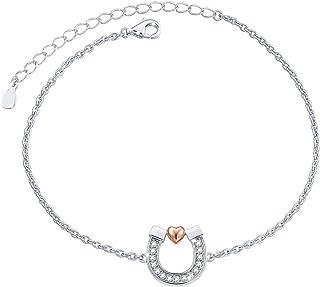 FLYOW Sterling Silver Lucky Horseshoe Love Heart Pendant Necklace Bracelet Anklets Earrings Jewelry